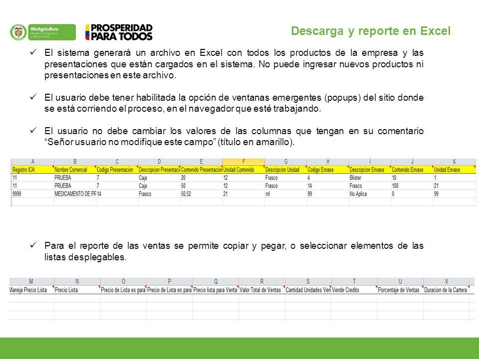 Descarga y reporte en Excel El sistema generará un archivo en Excel con todos los productos de la empresa y las presentaciones que están cargados en el sistema.