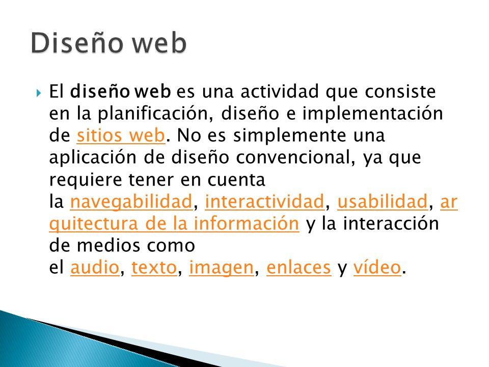 El diseño de páginas web se trata básicamente de realizar un documento con información hiperenlazado con otros documentos y asignarle una presentación para diferentes dispositivos de salida (en una pantalla de computador, en papel, en un teléfono móvil, etc).computadorpapelteléfono móvil Estos documentos o páginas web pueden ser creadas: creando archivos de texto en HTML, PHP, Asp, Aspx, JavaScript, JSP, Pytho n, Ruby.archivos de textoHTMLPHPAspAspxJavaScriptJSPPytho nRuby utilizando un programa WYSIWYG o WYSIWYM de creación de páginas.WYSIWYGWYSIWYM utilizando lenguajes de programación del lado servidor, para generar la página weblenguajes de programación