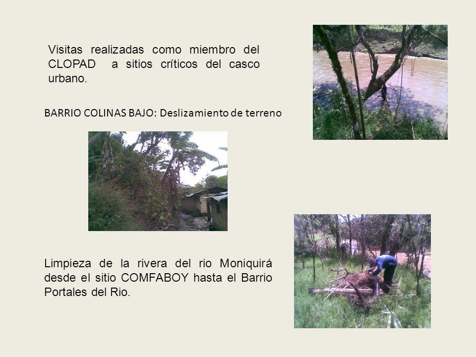 Trabajos de mitigación de la inundación del Rio Moniquirà en conjunto con los Bomberos del Municipio de Barbosa en el barrio Palmar sitio Callejón