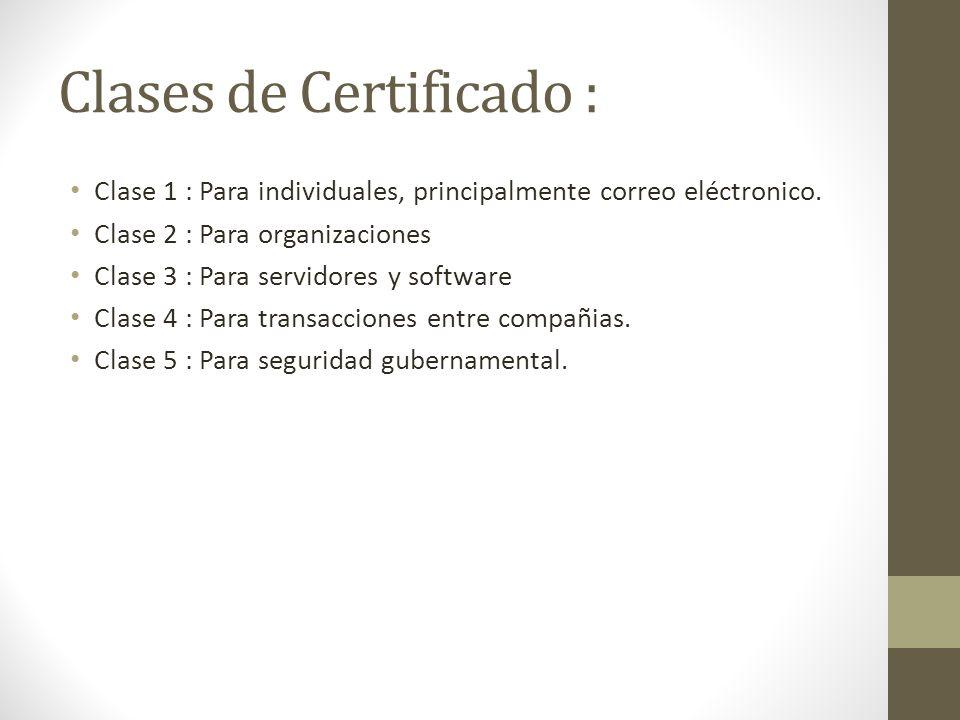 Clases de Certificado : Clase 1 : Para individuales, principalmente correo eléctronico. Clase 2 : Para organizaciones Clase 3 : Para servidores y soft