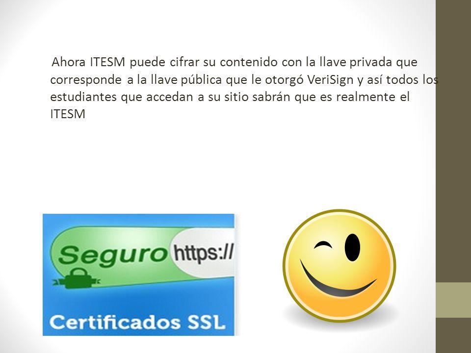 Ahora ITESM puede cifrar su contenido con la llave privada que corresponde a la llave pública que le otorgó VeriSign y así todos los estudiantes que a
