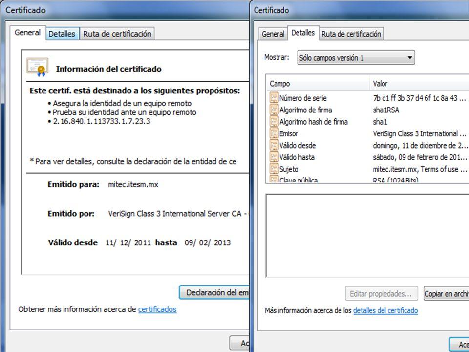 Usos de Certificado Verificar autenticidad de un Sitio Web (SSL).
