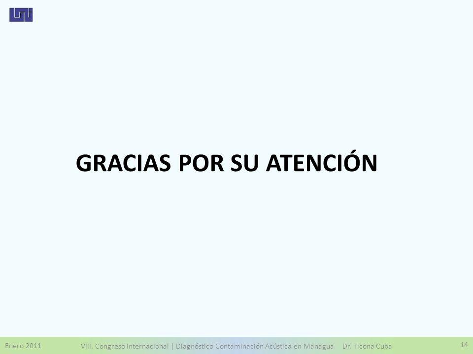 Enero 2011 VIII. Congreso Internacional | Diagnóstico Contaminación Acústica en Managua Dr. Ticona Cuba 14 GRACIAS POR SU ATENCIÓN