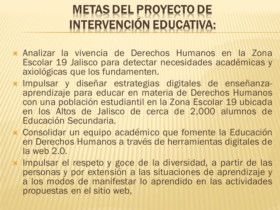 Analizar la vivencia de Derechos Humanos en la Zona Escolar 19 Jalisco para detectar necesidades académicas y axiológicas que los fundamenten. Impulsa
