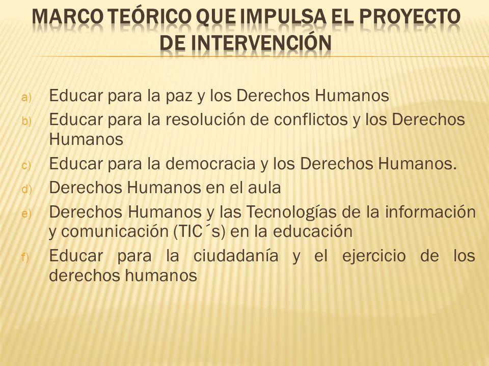 a) Educar para la paz y los Derechos Humanos b) Educar para la resolución de conflictos y los Derechos Humanos c) Educar para la democracia y los Dere