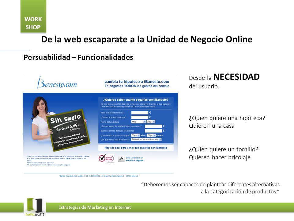 WORK SHOP Estrategias de Marketing en Internet De la web escaparate a la Unidad de Negocio Online Persuabilidad – Funcionalidades Desde la NECESIDAD del usuario.