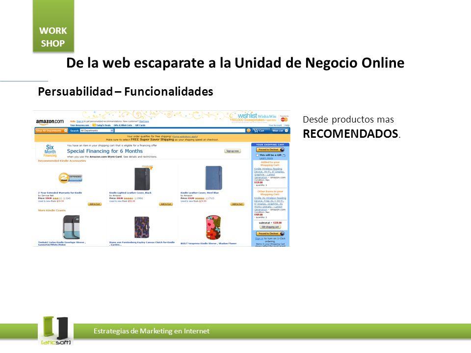 WORK SHOP Estrategias de Marketing en Internet De la web escaparate a la Unidad de Negocio Online Persuabilidad – Funcionalidades Desde productos mas RECOMENDADOS.