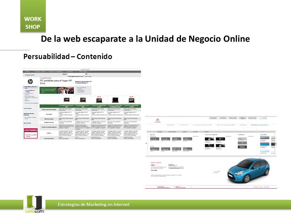 WORK SHOP Estrategias de Marketing en Internet De la web escaparate a la Unidad de Negocio Online Persuabilidad – Contenido