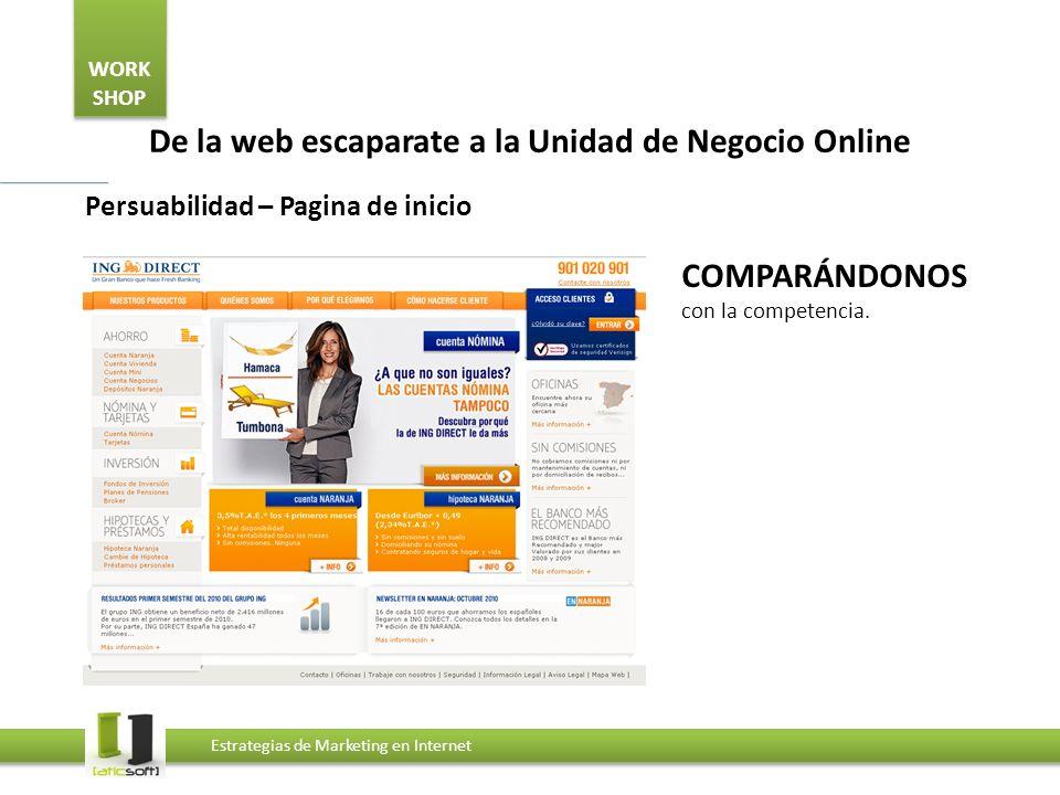 WORK SHOP Estrategias de Marketing en Internet De la web escaparate a la Unidad de Negocio Online Persuabilidad – Pagina de inicio Desde los propios USUARIOS.