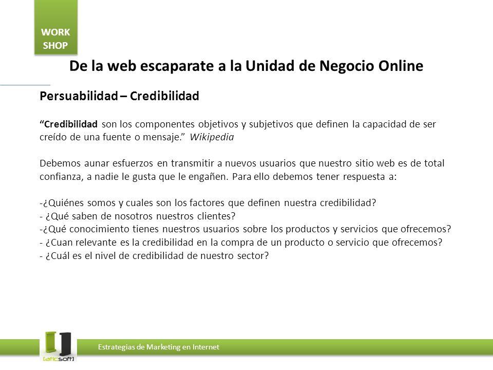 WORK SHOP Estrategias de Marketing en Internet De la web escaparate a la Unidad de Negocio Online Persuabilidad – Contenido Ficha de producto -Mostar con claridad el nombre del producto.