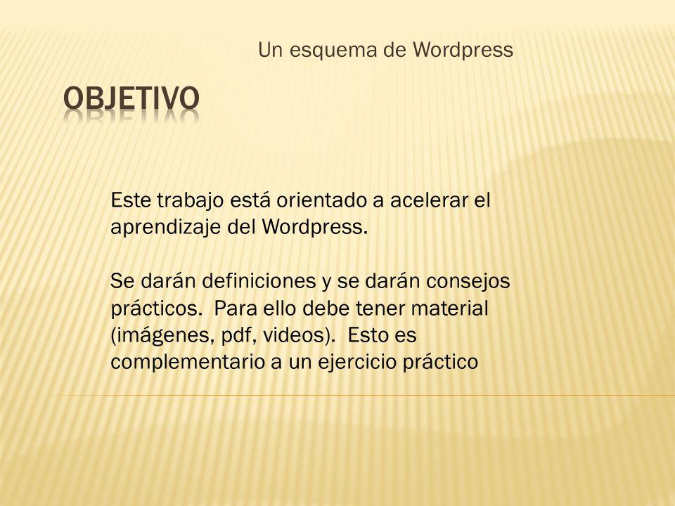 Un esquema de Wordpress Este trabajo está orientado a acelerar el aprendizaje del Wordpress. Se darán definiciones y se darán consejos prácticos. Para