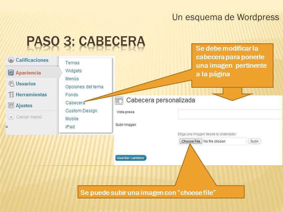 Un esquema de Wordpress Se debe modificar la cabecera para ponerle una imagen pertinente a la página Se puede subir una imagen con choose file