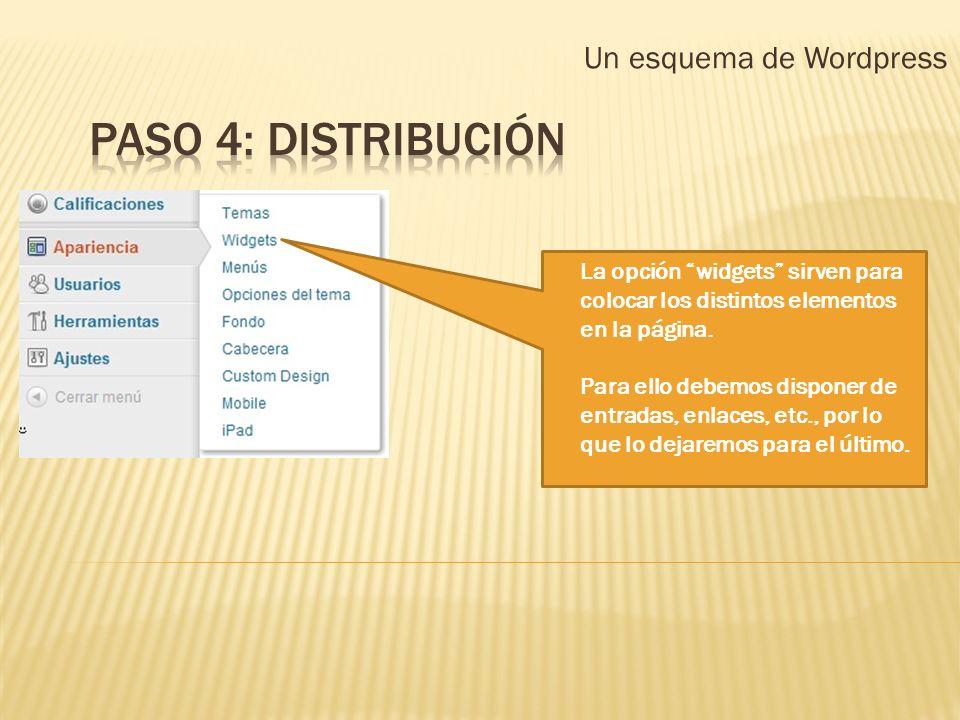 Un esquema de Wordpress La opción widgets sirven para colocar los distintos elementos en la página. Para ello debemos disponer de entradas, enlaces, e