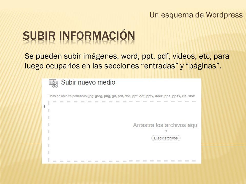 Un esquema de Wordpress Se pueden subir imágenes, word, ppt, pdf, videos, etc, para luego ocuparlos en las secciones entradas y páginas.