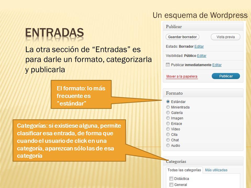 Un esquema de Wordpress La otra sección de Entradas es para darle un formato, categorizarla y publicarla Categorías: si existiese alguna, permite clas