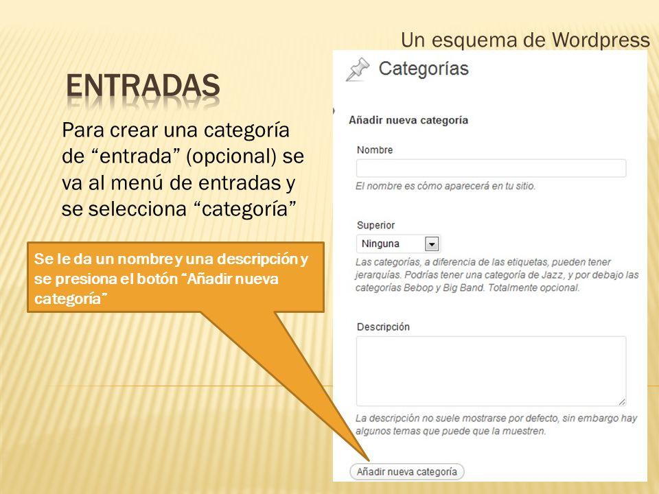 Un esquema de Wordpress Para crear una categoría de entrada (opcional) se va al menú de entradas y se selecciona categoría Se le da un nombre y una de