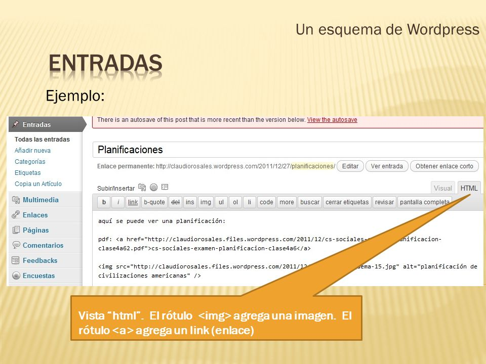 Un esquema de Wordpress Ejemplo: Vista html. El rótulo agrega una imagen. El rótulo agrega un link (enlace)