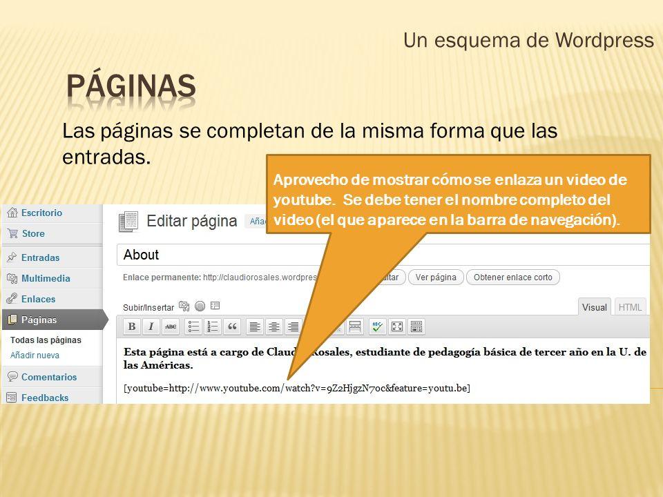 Un esquema de Wordpress Las páginas se completan de la misma forma que las entradas. Aprovecho de mostrar cómo se enlaza un video de youtube. Se debe