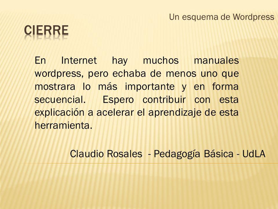 Un esquema de Wordpress En Internet hay muchos manuales wordpress, pero echaba de menos uno que mostrara lo más importante y en forma secuencial. Espe