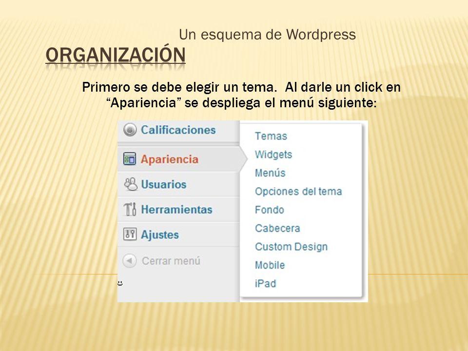Un esquema de Wordpress Primero se debe elegir un tema. Al darle un click en Apariencia se despliega el menú siguiente: