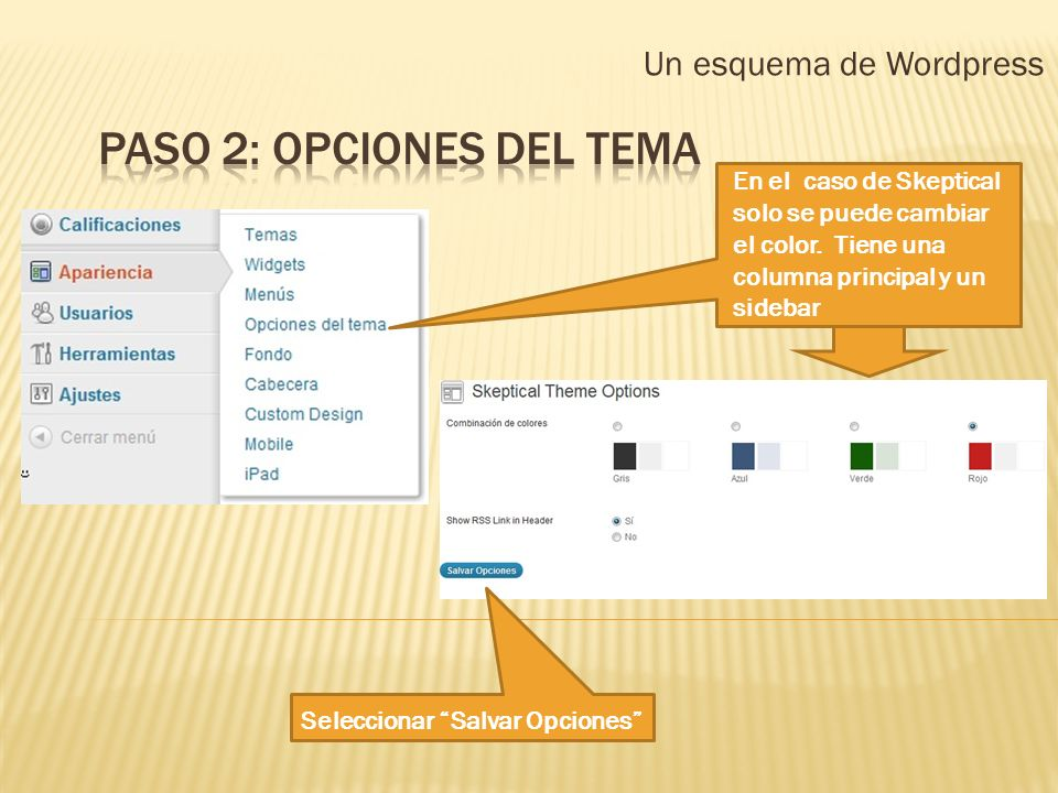 Un esquema de Wordpress En el caso de Skeptical solo se puede cambiar el color. Tiene una columna principal y un sidebar Seleccionar Salvar Opciones