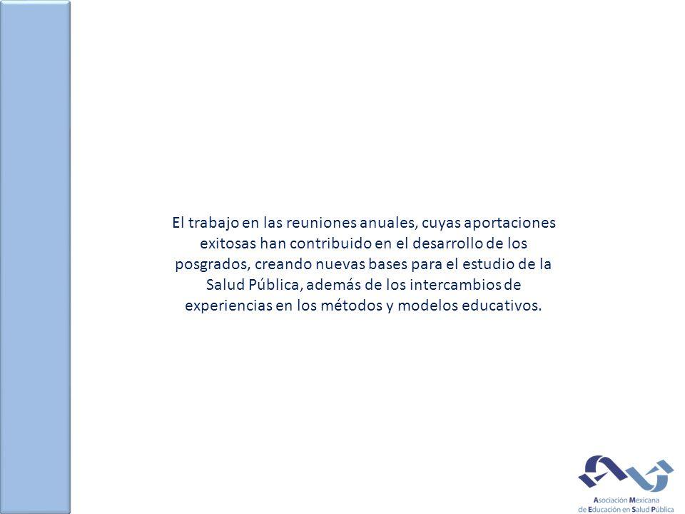 El trabajo en las reuniones anuales, cuyas aportaciones exitosas han contribuido en el desarrollo de los posgrados, creando nuevas bases para el estudio de la Salud Pública, además de los intercambios de experiencias en los métodos y modelos educativos.