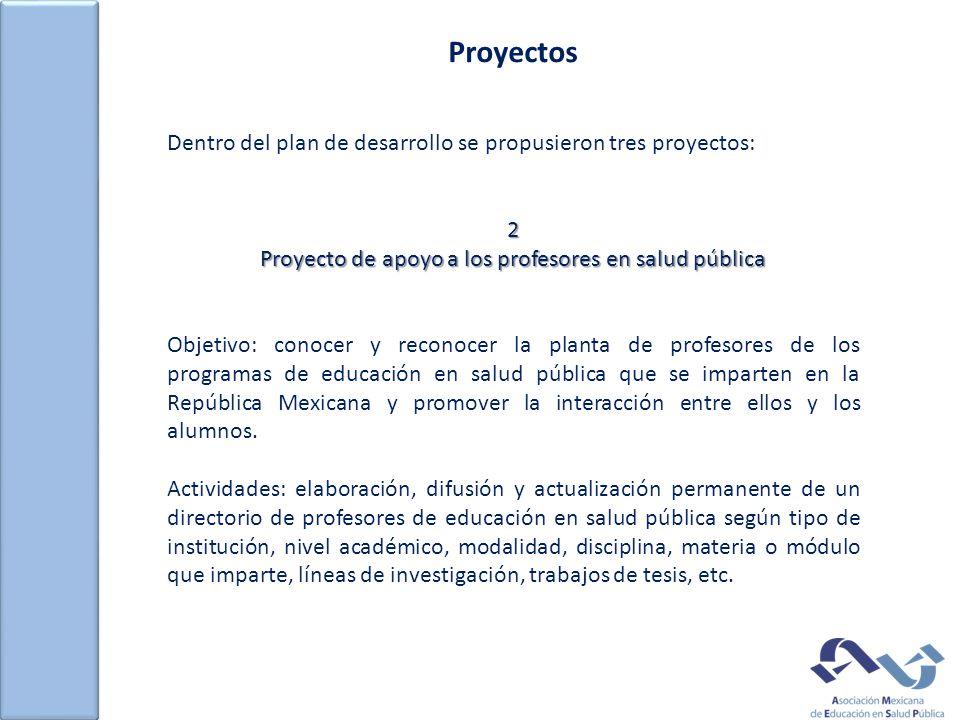 Proyectos Dentro del plan de desarrollo se propusieron tres proyectos:2 Proyecto de apoyo a los profesores en salud pública Objetivo: conocer y reconocer la planta de profesores de los programas de educación en salud pública que se imparten en la República Mexicana y promover la interacción entre ellos y los alumnos.
