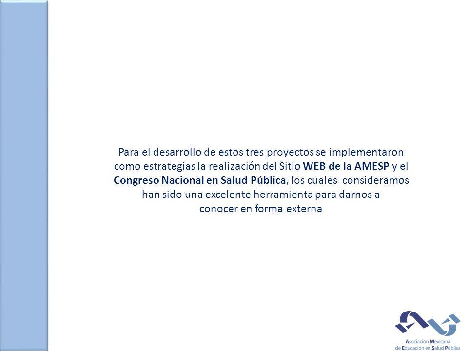 Para el desarrollo de estos tres proyectos se implementaron como estrategias la realización del Sitio WEB de la AMESP y el Congreso Nacional en Salud Pública, los cuales consideramos han sido una excelente herramienta para darnos a conocer en forma externa