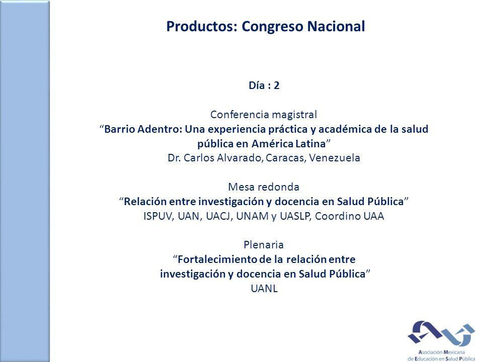 Productos: Congreso Nacional Día : 2 Conferencia magistral Barrio Adentro: Una experiencia práctica y académica de la salud pública en América Latina Dr.