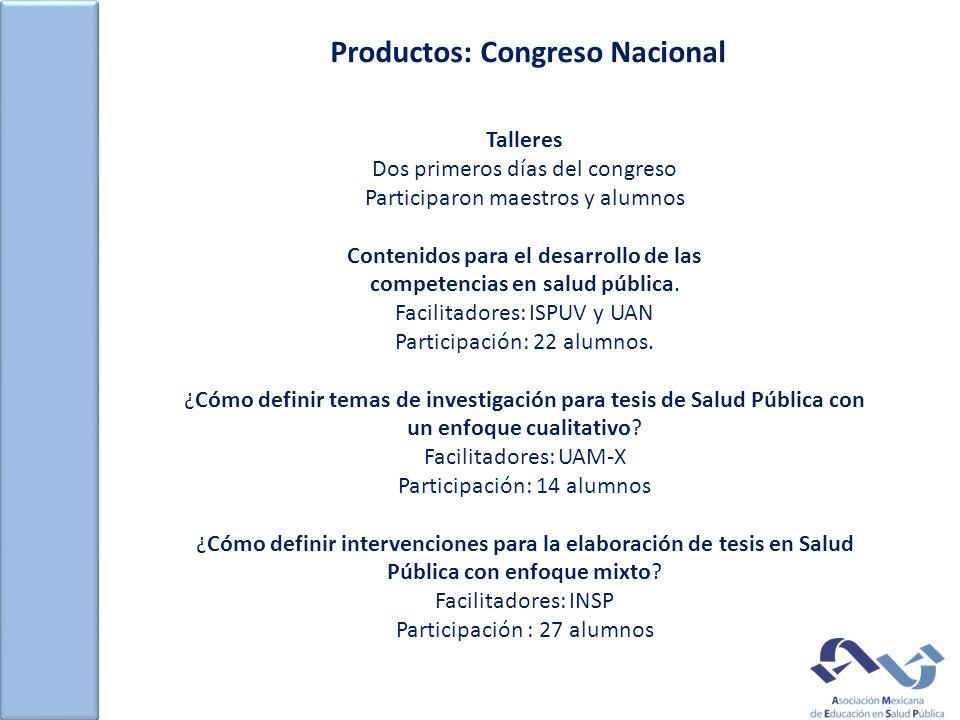 Productos: Congreso Nacional Talleres Dos primeros días del congreso Participaron maestros y alumnos Contenidos para el desarrollo de las competencias en salud pública.