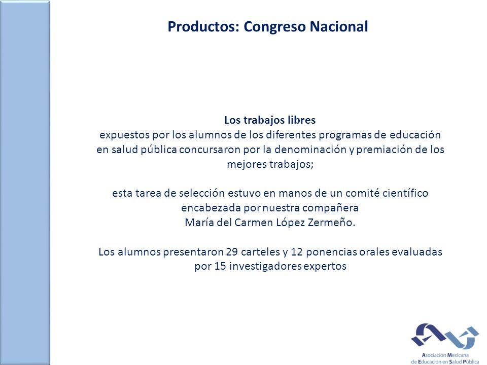 Productos: Congreso Nacional Los trabajos libres expuestos por los alumnos de los diferentes programas de educación en salud pública concursaron por l