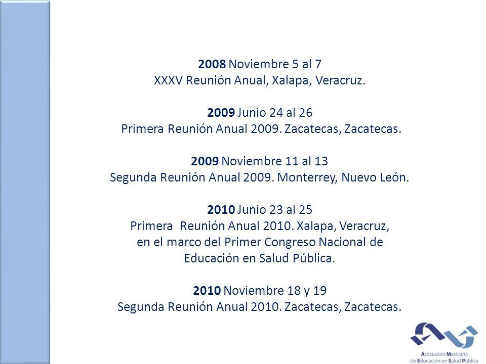 2008 Noviembre 5 al 7 XXXV Reunión Anual, Xalapa, Veracruz. 2009 Junio 24 al 26 Primera Reunión Anual 2009. Zacatecas, Zacatecas. 2009 Noviembre 11 al