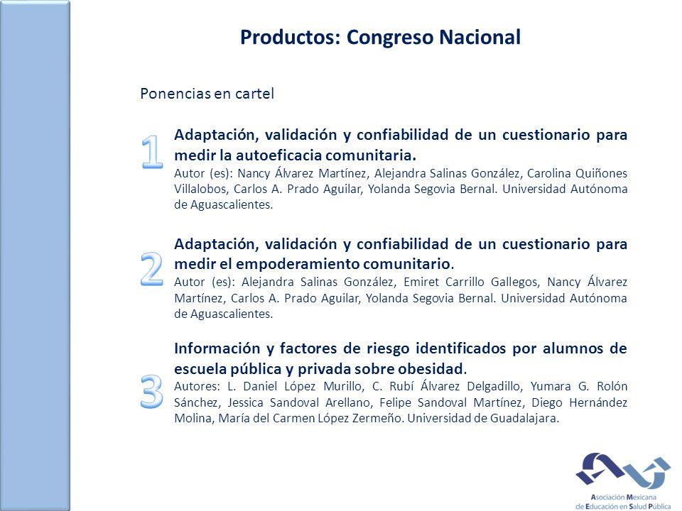 Productos: Congreso Nacional Ponencias en cartel Adaptación, validación y confiabilidad de un cuestionario para medir la autoeficacia comunitaria.