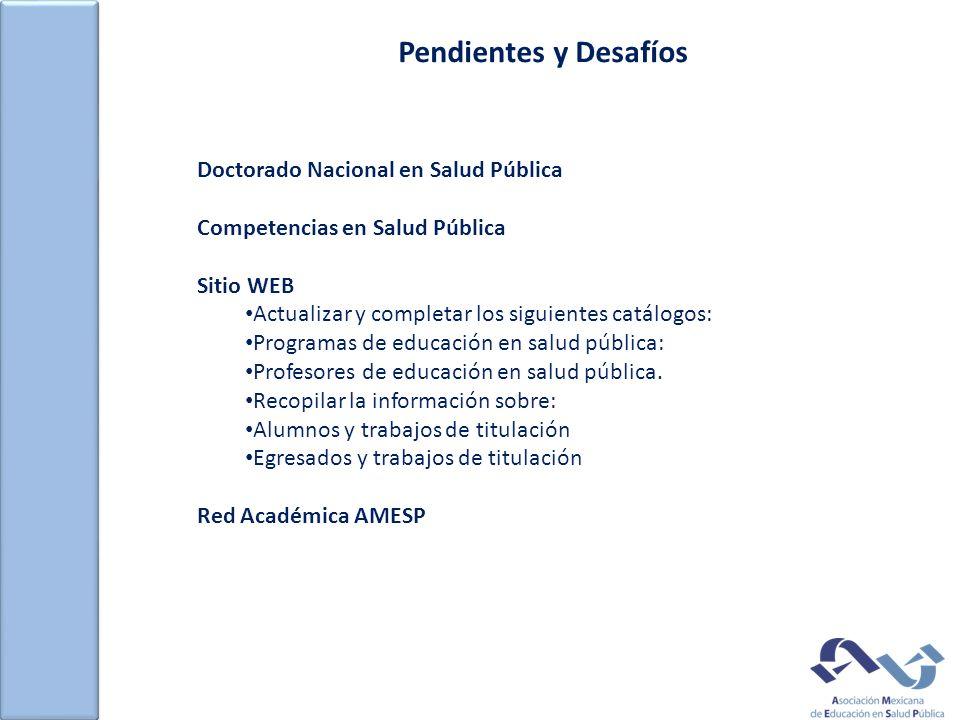 Pendientes y Desafíos Doctorado Nacional en Salud Pública Competencias en Salud Pública Sitio WEB Actualizar y completar los siguientes catálogos: Programas de educación en salud pública: Profesores de educación en salud pública.
