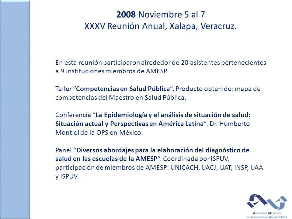 2008 Noviembre 5 al 7 XXXV Reunión Anual, Xalapa, Veracruz. En esta reunión participaron alrededor de 20 asistentes pertenecientes a 9 instituciones m