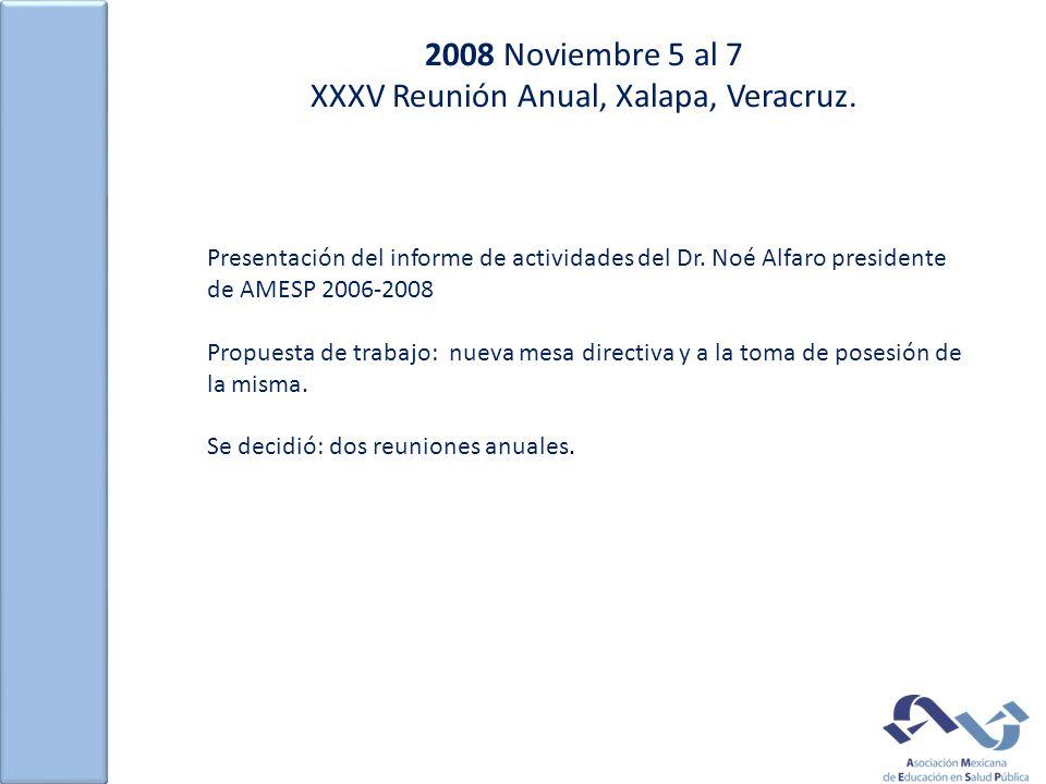 2008 Noviembre 5 al 7 XXXV Reunión Anual, Xalapa, Veracruz. Presentación del informe de actividades del Dr. Noé Alfaro presidente de AMESP 2006-2008 P