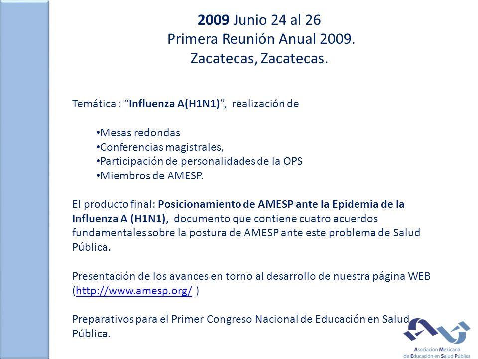 2009 Junio 24 al 26 Primera Reunión Anual 2009. Zacatecas, Zacatecas. Temática : Influenza A(H1N1), realización de Mesas redondas Conferencias magistr