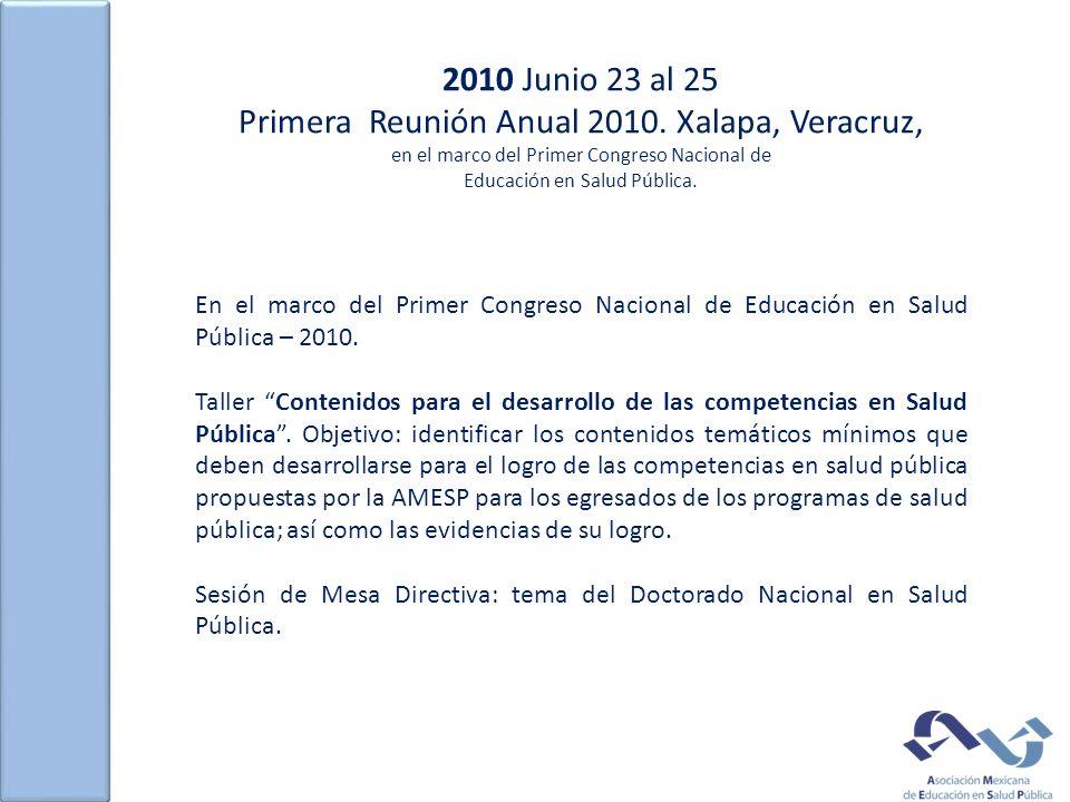 2010 Junio 23 al 25 Primera Reunión Anual 2010. Xalapa, Veracruz, en el marco del Primer Congreso Nacional de Educación en Salud Pública. En el marco