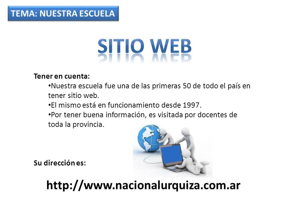 TEMA: NUESTRA ESCUELA Tener en cuenta: Nuestra escuela fue una de las primeras 50 de todo el país en tener sitio web. El mismo está en funcionamiento