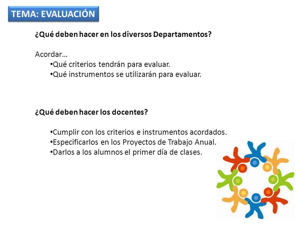 TEMA: EVALUACIÓN ¿Qué deben hacer en los diversos Departamentos? Acordar… Qué criterios tendrán para evaluar. Qué instrumentos se utilizarán para eval