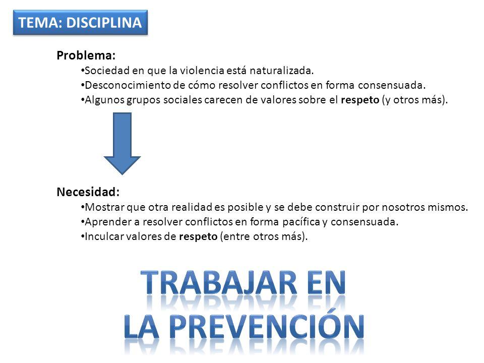 TEMA: DISCIPLINA Problema: Sociedad en que la violencia está naturalizada. Desconocimiento de cómo resolver conflictos en forma consensuada. Algunos g