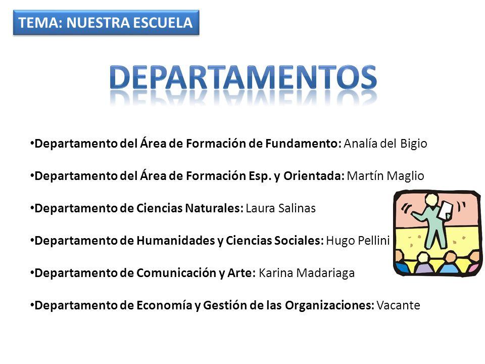 TEMA: NUESTRA ESCUELA Departamento del Área de Formación de Fundamento: Analía del Bigio Departamento del Área de Formación Esp. y Orientada: Martín M