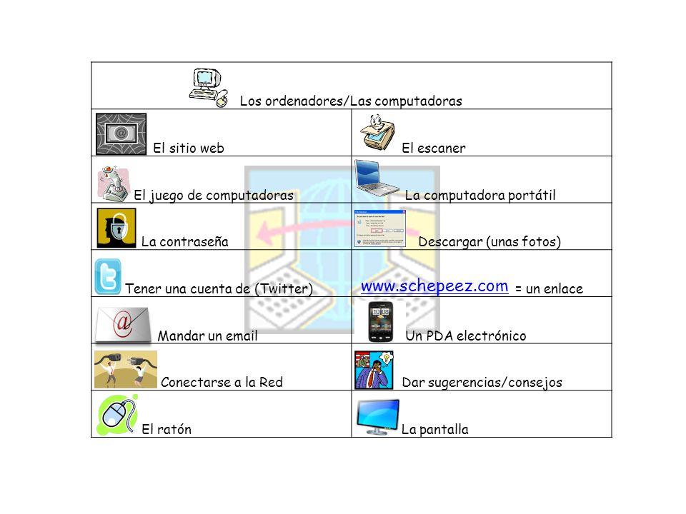 Los ordenadores/Las computadoras El sitio web El escaner El juego de computadoras La computadora portátil La contraseña Descargar (unas fotos) Tener u