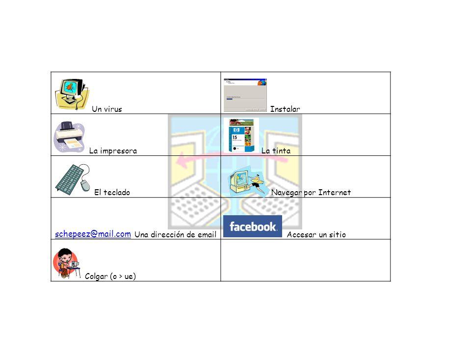 Un virus Instalar La impresora La tinta El teclado Navegar por Internet Una dirección de email Accesar un sitio Colgar (o > ue) schepeez@mail.com