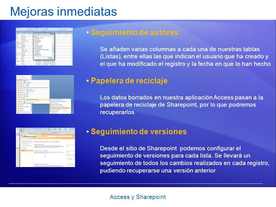 Mejoras inmediatas Seguimiento de autores Se añaden varias columnas a cada una de nuestras tablas (Listas), entre ellas las que indican el usuario que ha creado y el que ha modificado el registro y la fecha en que lo han hecho Access y Sharepoint Papelera de reciclaje Los datos borrados en nuestra aplicación Access pasan a la papelera de reciclaje de Sharepoint, por lo que podremos recuperarlos Seguimiento de versiones Desde el sitio de Sharepoint podemos configurar el seguimiento de versiones para cada lista.