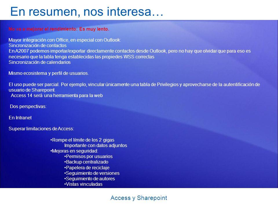 En resumen, nos interesa… Access y Sharepoint No va a mejorar el rendimiento: Es muy lento.
