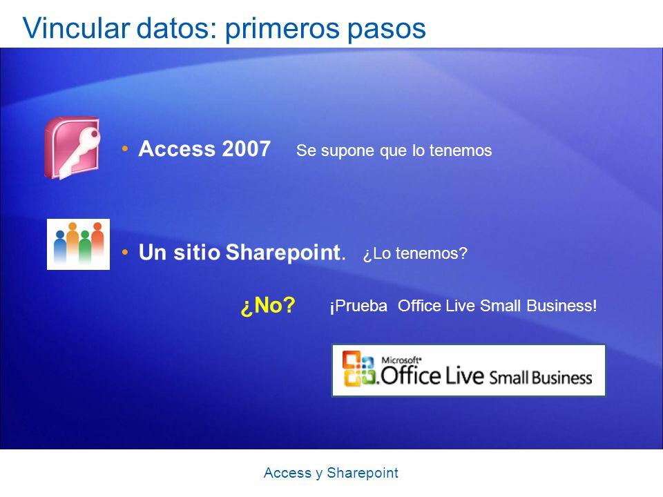 Access y Sharepoint Vincular datos: primeros pasos Access 2007 Un sitio Sharepoint.