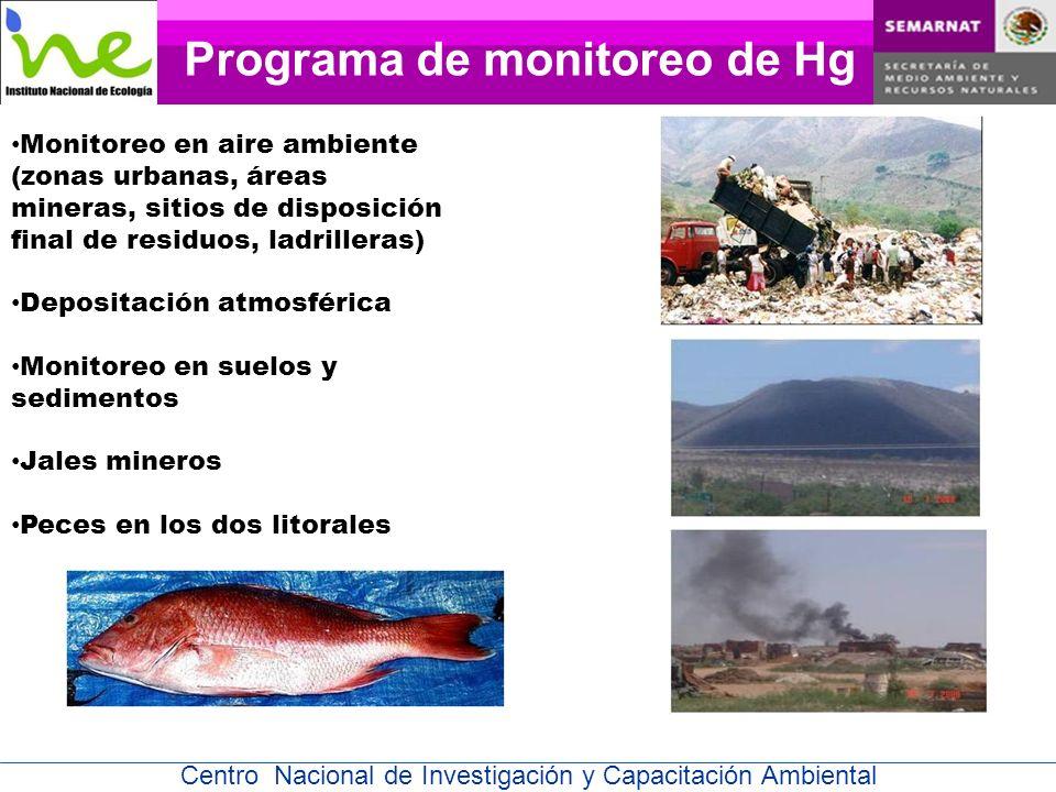 Centro Nacional de Investigación y Capacitación Ambiental Monitoreo en aire ambiente (zonas urbanas, áreas mineras, sitios de disposición final de residuos, ladrilleras) Depositación atmosférica Monitoreo en suelos y sedimentos Jales mineros Peces en los dos litorales Programa de monitoreo de Hg