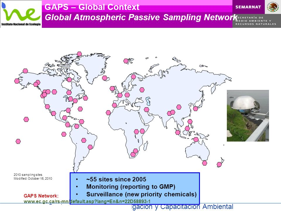 Centro Nacional de Investigación y Capacitación Ambiental 2010 sampling sites Modified: October 15, 2010 GAPS – Global Context Global Atmospheric Pass