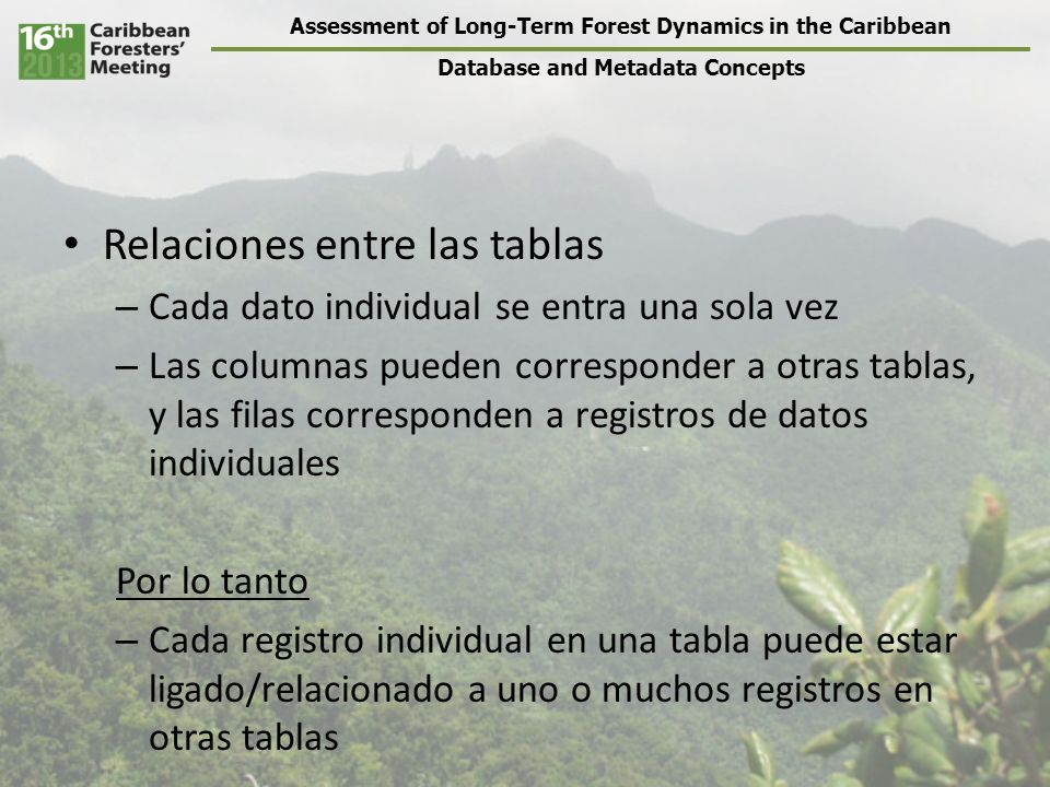 Assessment of Long-Term Forest Dynamics in the Caribbean Database and Metadata Concepts Relaciones entre las tablas – Cada dato individual se entra un